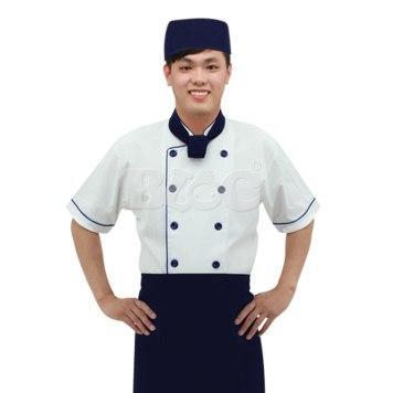 BC206丈青色雙排釦滾邊配色廚師服