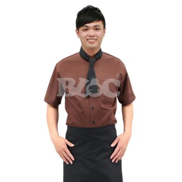 BC213咖啡色單排釦基本款廚師服